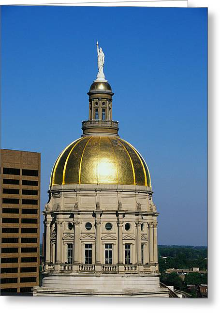 Patriotic Scenes Greeting Cards - Georgia State Capitol Dome Atlanta Ga Greeting Card by Panoramic Images