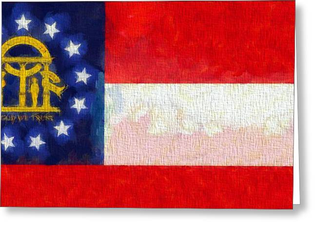 Red White And Blue Mixed Media Greeting Cards - Georgia State Flag On Canvas Greeting Card by Dan Sproul