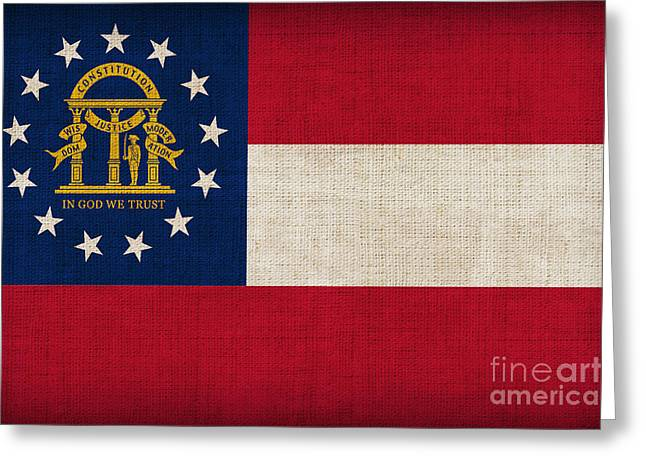 Georgia State Flag Greeting Card by Pixel Chimp