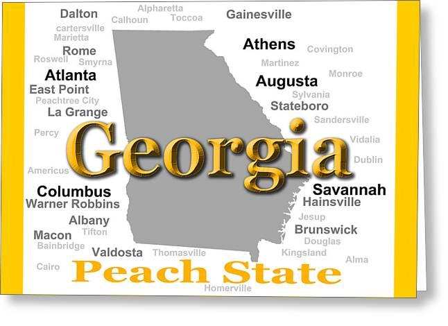 La Grange Greeting Cards - Georgia State Pride Map Silhouette  Greeting Card by Keith Webber Jr