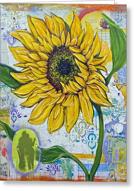 Georgia Sunflower Greeting Card by Random Act aka Andrea LaHue