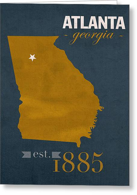 Town Mixed Media Greeting Cards - Georgia Tech University Yellow Jackets Atlanta College Town State Map Poster Series No 043 Greeting Card by Design Turnpike