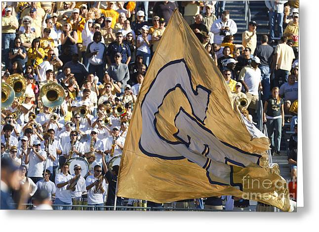 Georgia Fan Greeting Cards - Georgia Tech Yellow Jackets Touchdown Celebration Flag and Band Greeting Card by Jason O Watson