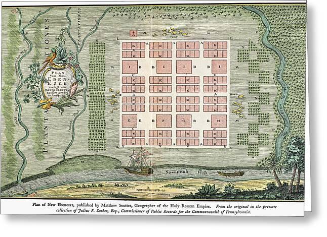 Ebenezer Greeting Cards - Georgia: Town Plan, 1734 Greeting Card by Granger