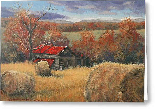Egg Tempera Paintings Greeting Cards - Georgia Valley in Autumn Greeting Card by Peter Muzyka