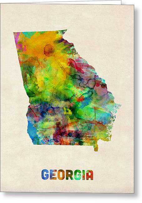 Us Map Greeting Cards - Georgia Watercolor Map Greeting Card by Michael Tompsett