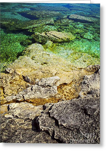 Calm Waters Greeting Cards - Georgian Bay abstract II Greeting Card by Elena Elisseeva