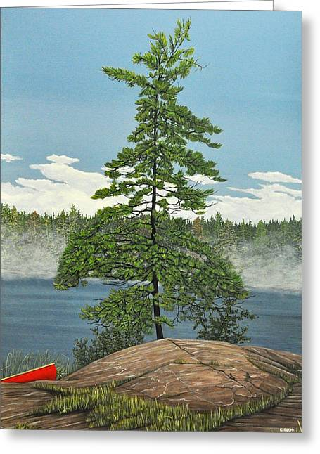 Canoe Paintings Greeting Cards - Georgian Bay Pine Greeting Card by Kenneth M  Kirsch