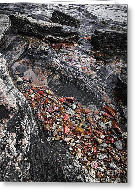 Huron Coast Greeting Cards - Georgian Bay rocks abstract I Greeting Card by Elena Elisseeva