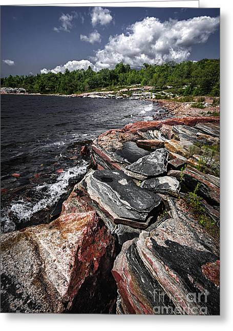 Huron Coast Greeting Cards - Georgian Bay rocks I Greeting Card by Elena Elisseeva