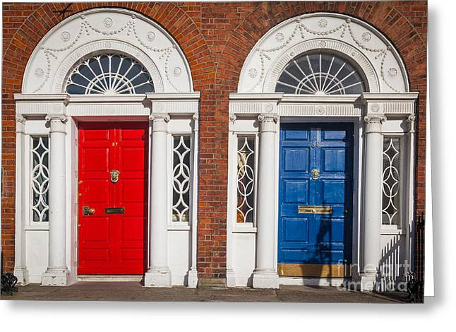 Entryway Photographs Greeting Cards - Georgian Doors Greeting Card by Inge Johnsson