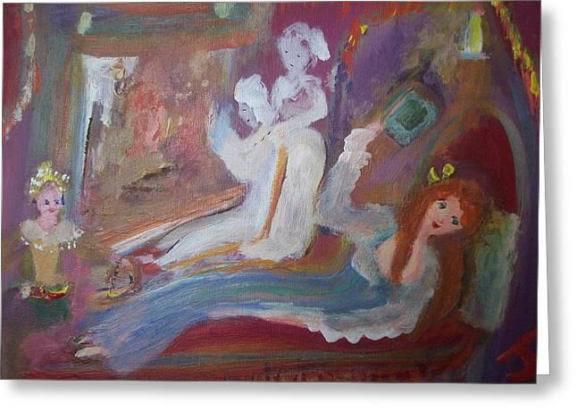 Chaise Paintings Greeting Cards - Georgian ghost scene Greeting Card by Judith Desrosiers