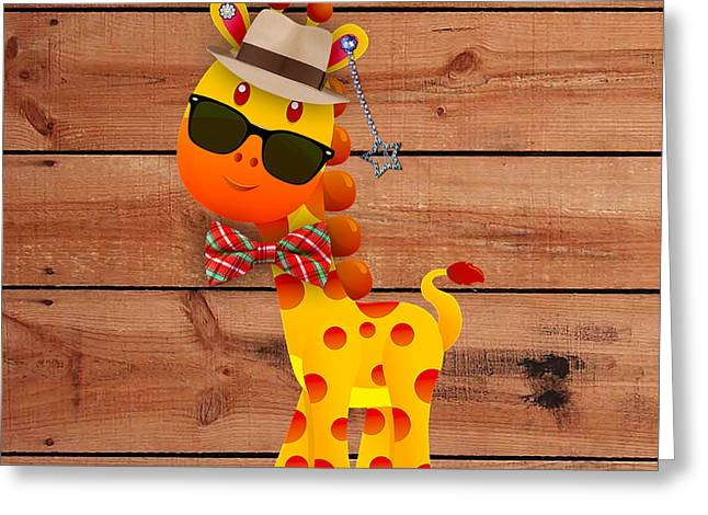 Kids Room Greeting Cards - Georgie Giraffe Collection Greeting Card by Marvin Blaine
