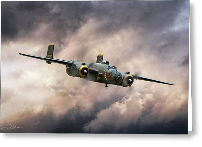 Georgie's Gal B-25 Greeting Card by Peter Chilelli