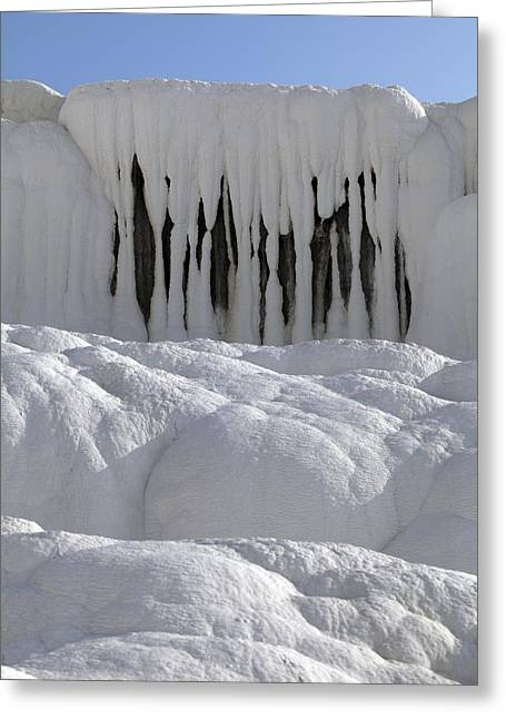 White Curtain Greeting Cards - Geothermal limestone terrace Greeting Card by Science Photo Library