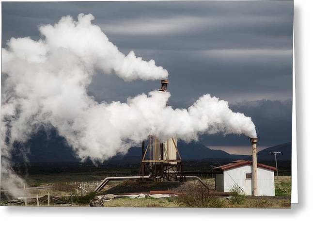 Power Plants Greeting Cards - Geothermal Power Station Greeting Card by Dirk Ercken