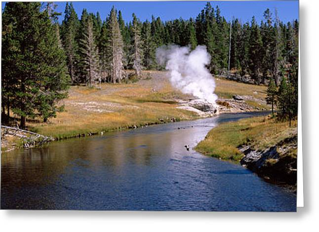 Geothermal Greeting Cards - Geothermal Vent On A Riverbank Greeting Card by Panoramic Images