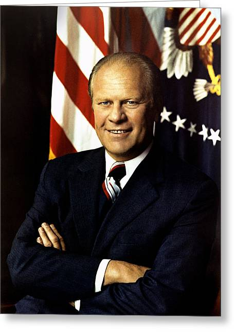 Gerald Ford President Of The United States  Greeting Card by Celestial Images