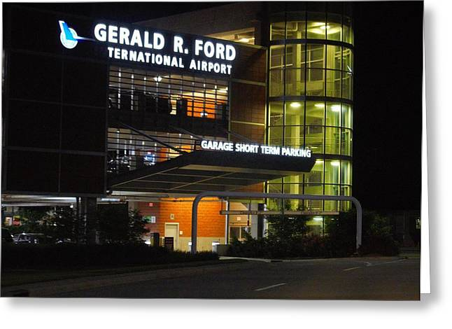 Overhang Greeting Cards - Gerald R Ford Airport In The Black Of Night Greeting Card by Rosemarie E Seppala
