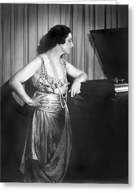 Geraldine Farrar Listening Greeting Card by Underwood Archives
