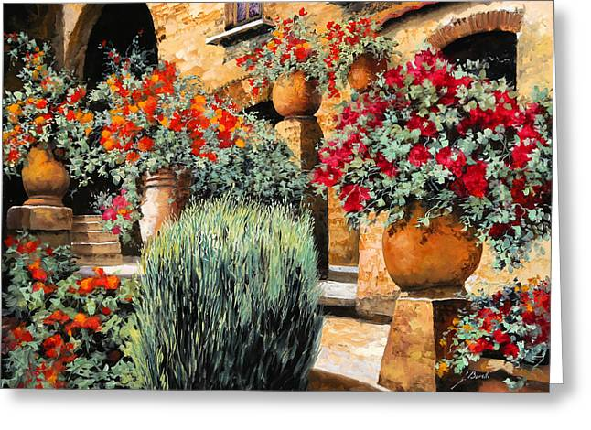 Flower Greeting Cards - Gerani Sulle Scale Greeting Card by Guido Borelli