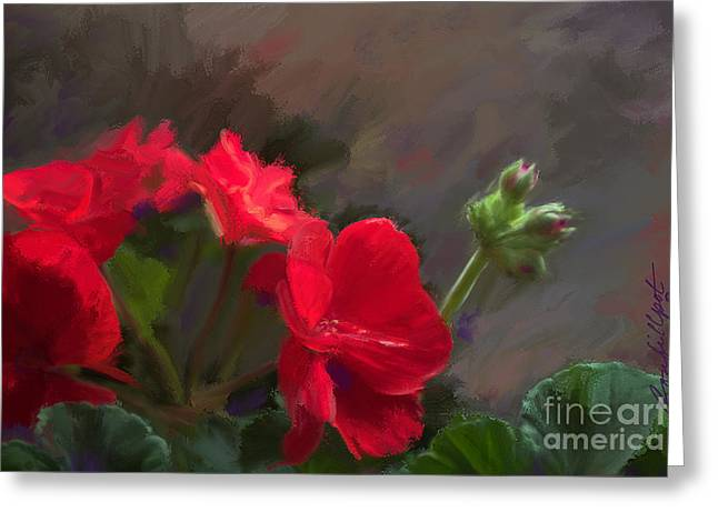 Red Geraniums Mixed Media Greeting Cards - Geranium in Red Greeting Card by Bon  Fillpot