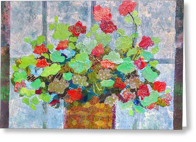 Red Geraniums Mixed Media Greeting Cards - Geranium in the Window Greeting Card by Karen Koch