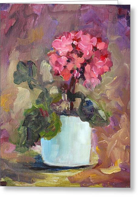 Red Geraniums Greeting Cards - Geranium Greeting Card by Patsy Zedar