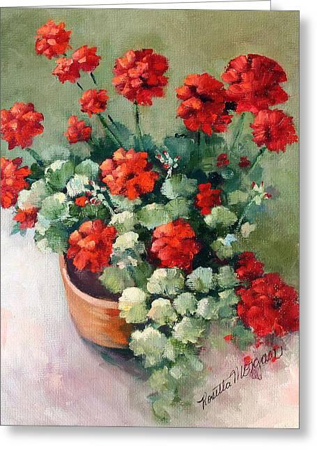 Red Geraniums Greeting Cards - Geranium Pot Greeting Card by Rosie Morgan