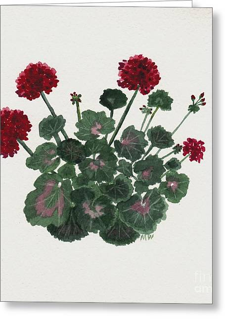 Red Geraniums Greeting Cards - Geranium Study Greeting Card by Michelle Welles