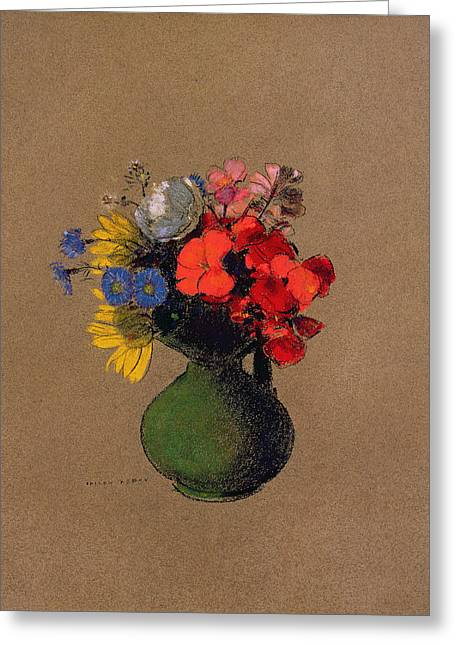 Vase Of Flowers Pastels Greeting Cards - Geraniums and flowers of the field Greeting Card by Odilon Redon
