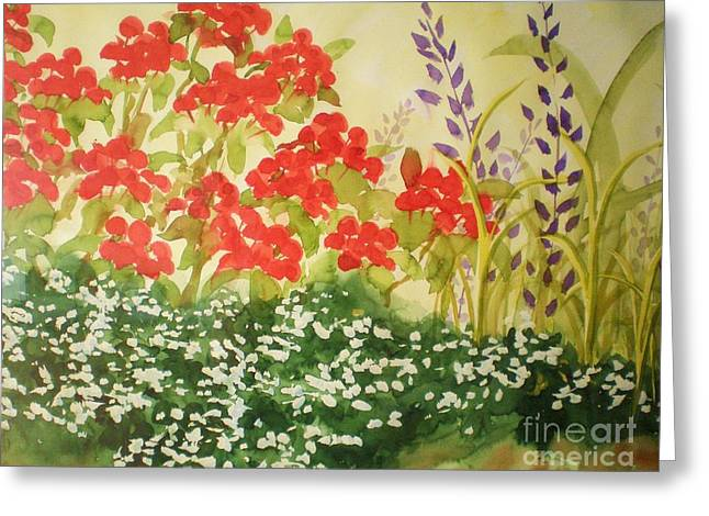 Red Geraniums Greeting Cards - Geraniums and Friends Greeting Card by Suzanne McKay