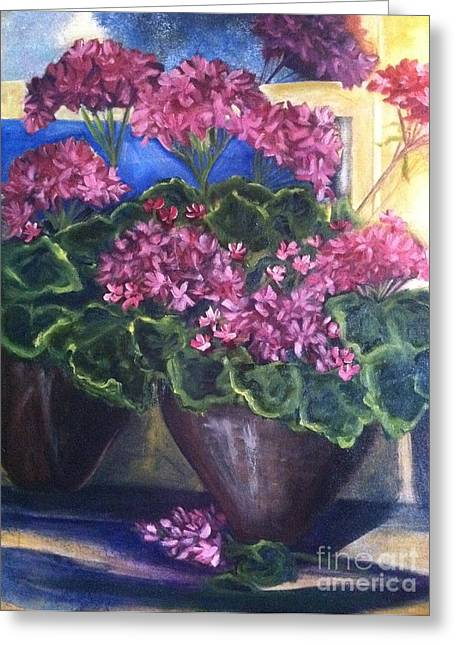 Wild Orchards Paintings Greeting Cards - Geraniums Blooming Greeting Card by Sherry Harradence