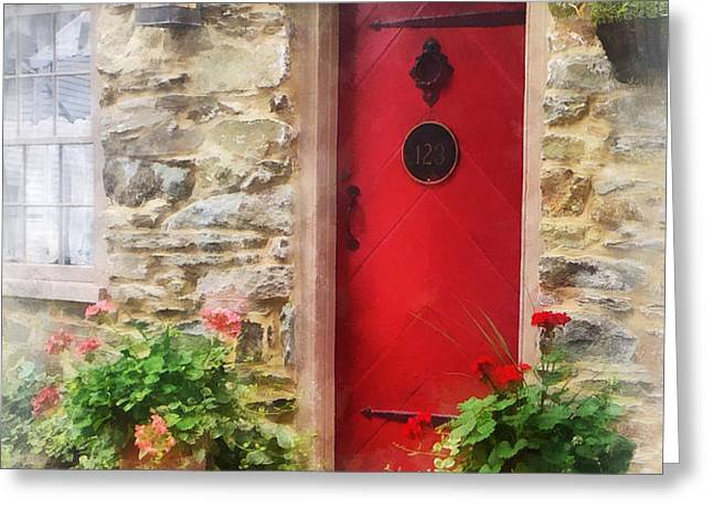 Geraniums by Red Door Greeting Card by Susan Savad