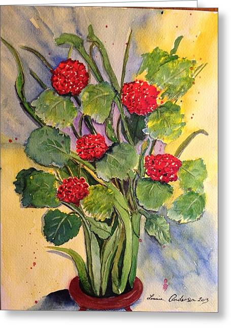 Red Geraniums Greeting Cards - Geraniums in a vase Greeting Card by Lonnie Anderson