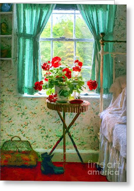Geraniums In The Bedroom Greeting Card by Nikolyn McDonald