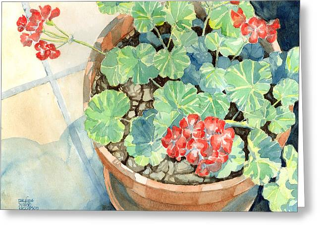 Red Geraniums Greeting Cards - Geraniums Greeting Card by Pauline Jacobson