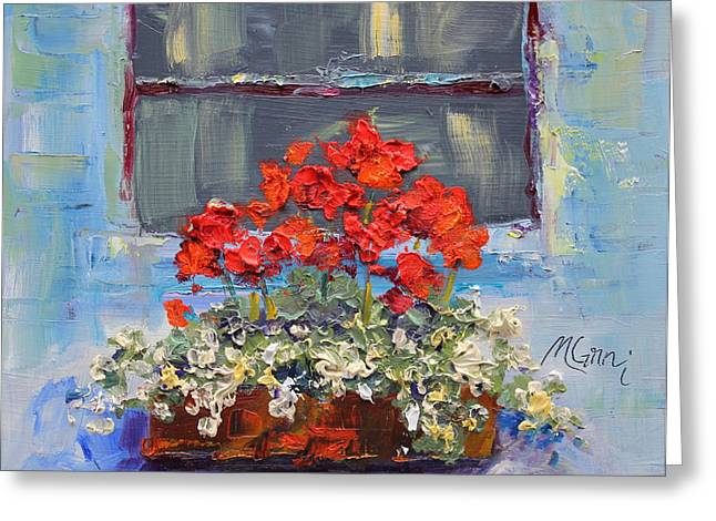 Marie Green Greeting Cards - Geraniums Sunbathing Greeting Card by Marie Green