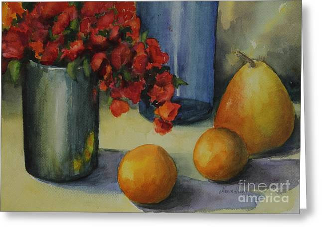 Red Geraniums Greeting Cards - Geraniums with Pear and Oranges Greeting Card by Maria Hunt