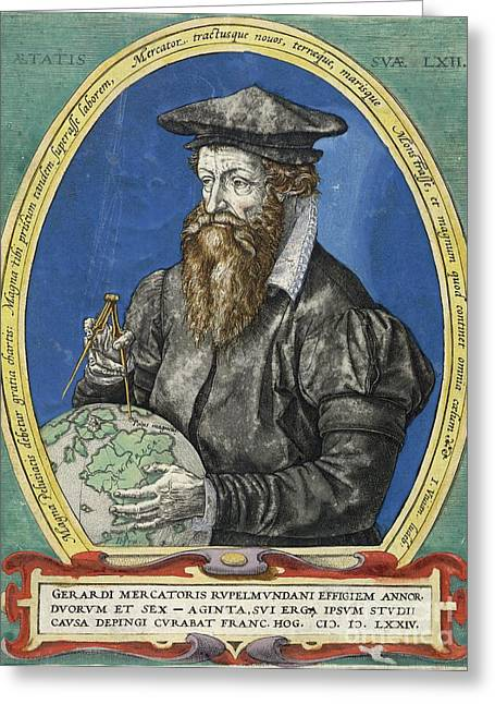 1574 Greeting Cards - Gerardus Mercator, Dutch Cartographer Greeting Card by British Library