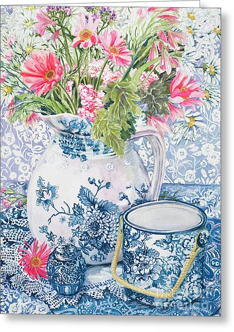 Recently Sold -  - White Cloth Greeting Cards - Gerberas in a Coalport Jug with Blue Pots Greeting Card by Joan Thewsey