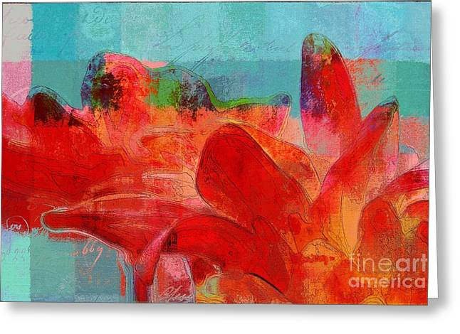 Aqua Flowers Greeting Cards - Gerberie - 3322c Greeting Card by Variance Collections