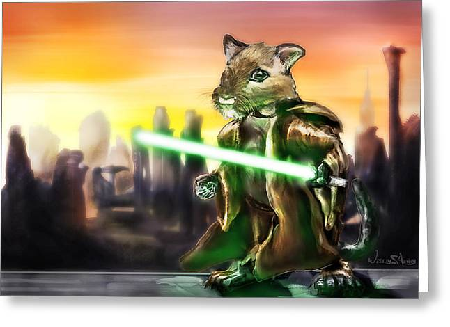 Gerbil Greeting Cards - Gerbil Jedi Greeting Card by Wesley S Abney