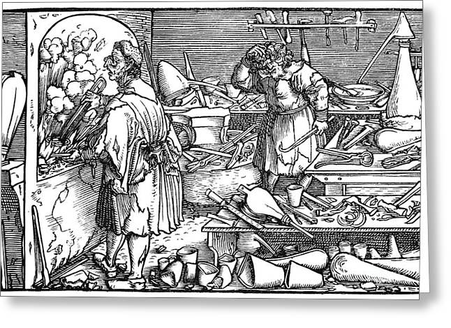 Consolation Greeting Cards - German Alchemist, 1537 Greeting Card by Granger