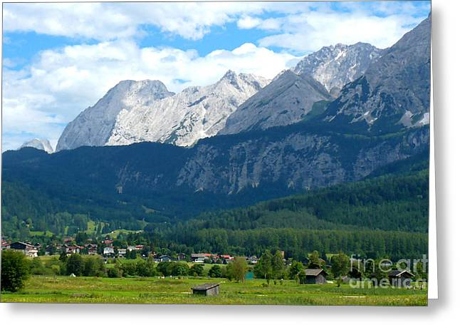 Mountain Valley Greeting Cards - German Alps - Digital Painting Greeting Card by Carol Groenen
