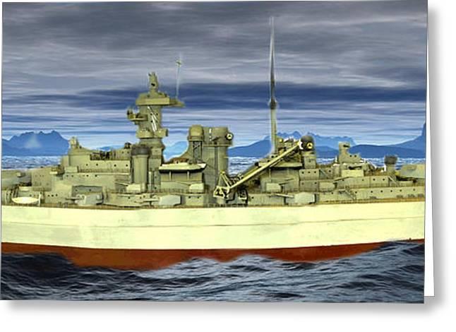 Historic Ship Greeting Cards - German battleship Bismarck Greeting Card by John Straton