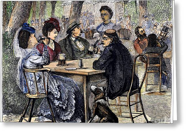 Stein Greeting Cards - German Beer Garden, 1870 Greeting Card by Granger