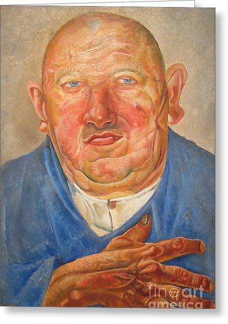 Strength Paintings Greeting Cards - German butcher  Greeting Card by Celestial Images