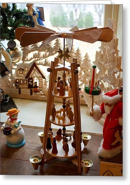 Holliday Scene Greeting Cards - German Christmas Pyramid Greeting Card by Cynthia Woods