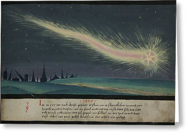 Medival Greeting Cards - German Comet Illustration Greeting Card by Nomad Art And  Design